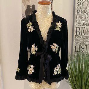 Nanette Lepour Black Velvet Embroidered Jacket